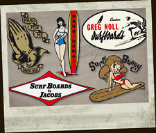 6 unidades surf sticker ADHESIVO DECAL surfboard surfing santa cruz autocollant s1