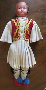 """10"""" VINTAGE DOLL SOVIET RUSSIAN CELLULOID Head is Damaged Cloth Body -"""