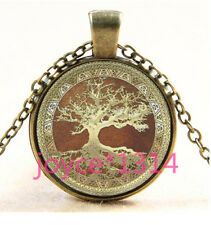 Vintage tree of Life Cabochon Bronze  Glass Chain Pendant Necklace TS-3177