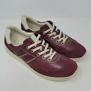 Ecco Mens suede And Leather Shoes sneakers Maroon Sz 8-8.5 EU 42 Womens 11-11.5