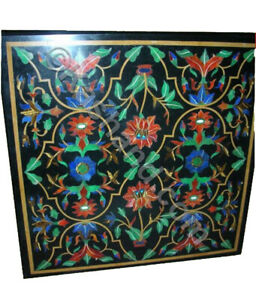 """24"""" Black Marble Coffee Table Top Inlay Malachite Floral Outdoor Home Decor B737"""