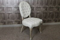 UPHOLSTERED CHAIR FRENCH STYLE DINING CHAIR WITH BUTTON BACK IN ANTIQUE LINEN