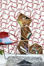 Red, White, Grey & Silver, Retro / Modern, Swirl Design,Textured Vinyl Wallpaper