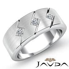 3Stone Princess Diamond Mens Half Wedding Band 7.8mm Ring 14k White Gold 0.35Ct