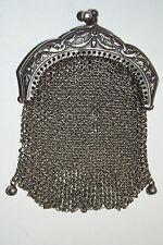 ANCIEN PORTE MONNAIE ART NOUVEAU COTE DE MAILLE ARGENT MASSIF POINÇON 1880-1914
