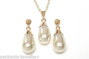 9ct Gold Pearl Teardrop Pendant Necklace and Earring Set Gift Boxed Made in UK