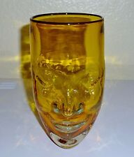 ART GLASS hand blown FACE VASE - signed Bredemeier 98 - amber yellow - Excellent