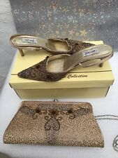 Ladies FARFALLA London slingback high shoe set Size 4 Beige Gold beaded RRP £180