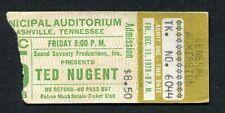 1978 Ted Nugent Golden Earring concert ticket stub Nashville Cat Scratch Fever