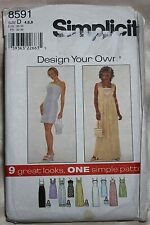 Simplicity 8591 Late 90s Dress and Purse Sewing Pattern - Size D 4, 6, 8 Uncut