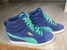 Puma Classic Hidden Wedge Womens Mid High Sneakers Blue Uk Size 4.5 Eur 37.5