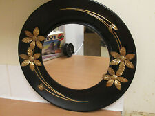 Vintage Round Metal Framed Wall Mirror 1960s Mid Century Retro Kitch