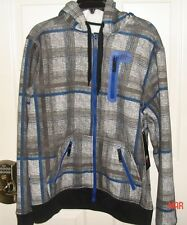 NEW WITH TAGS NO FEAR MEDIUM HOODIE YOUNG MENS JACKET BLUE BLACK GRAY PLAID COAT