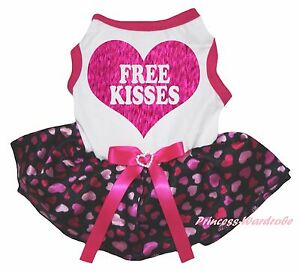 Free Kisses Valentine White Top Hot Pink Heart Skirt Cat Pet Dog Puppy Dress Bow