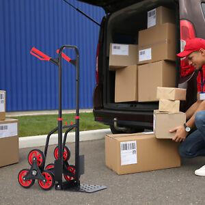 6-Wheels Stair Climbing Cart 330lbs Capacity, Portable Folding Trolley on Wheels