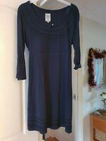 Montaray Dark Blue Tunic Top/Mini Dress, 3/4 Roll Tab Sleeves, Size 14, VGC