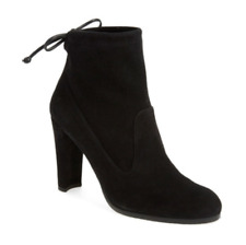 Stuart Weitzman Perfection Mitten Black Stretch Suede Bootie Boots Ankle Tie 8.5