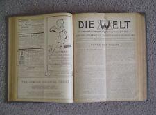 Die Welt Jewish Zionist Weekly Newspaper 1910-1912 Bound Theodor Herzl Zionism