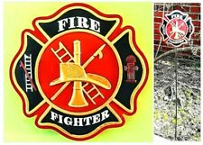"MALTESE CROSS Full Color Garden Stake for FIREFIGHTERS - with 28"" metal stakes"