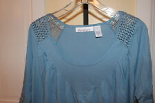Womens Blue 3/4 Sleeve Blouse Top by Roaman's Lg. NIP Tatted Look Decoration