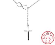 100% 925 Sterling Silver Infinity Cross Pendant Necklace Chain Jewelry Women's