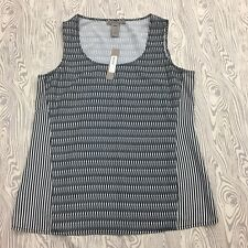 Sharon Young Woman Small Tank Blouse Black White Striped Top Shirt Sleeveless