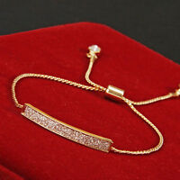 Gold/Silver Plated Crystal Pave Bar Slider Bracelet Adjustable Drawstring Hot