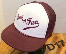 """SUN 'N FUN"" TRUCKERS HAT BURGUNDY/WHITE SNAPBACK MESH BACK VERY GOOD COND D17"