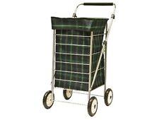 4 Wheel Shopping Trolley Cart Bag Lightweight Adjustable Handle Tartan Sabichi