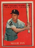 1961 Topps #477 Nellie Fox VG+ MARKED HOF MVP Chicago White Sox FREE SHIPPING