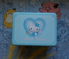 "Hello Kitty Angel Tin Lunch Box Sanrio 2001 Blue White Stripes Japan 8"""