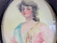 Watercolor Painting Woman Portrait Framed Victorian Western Antique