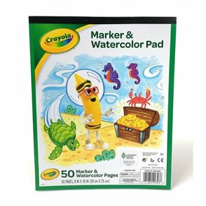"""Crayola 99-3403 Marker & Watercolor Pad 50 Pages 8"""" X 10""""  White"""