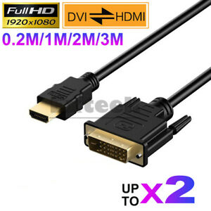 HDMI to DVI-D 24+1 Pin Male Cable AV Full HD PC LCD PS3 XBOX HDTV 0.3M ~ 3M