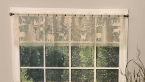 Heritage Lace Natural Tan LODGE HOLLOW Window Valance Moose, Bear, Deer USA MADE