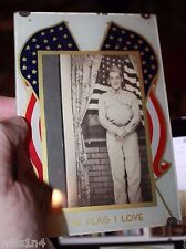 "WW II Photo of Soldier With the US Flag ""Flag I Love"" partial painting on glass"