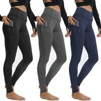 Women Compression Yoga Leggings Pocket Pants Fitness Sport Gym Workout Athletic