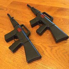 TWO (2) TOY MACHINE GUNS BLACK MILITARY ASSAULT RIFLE -16 INCHES LONG Sparks