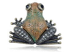 Clear Crystal Elements Antique Inspired Bumpy Skin Brown Frog Pin Brooch