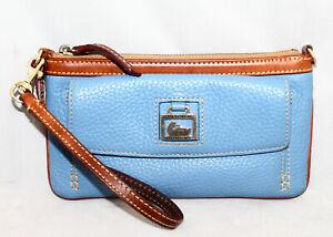 DOONEY & BOURKE Front Flap Pocket Wristlet Light Blue Pebbled Leather Tan Trim
