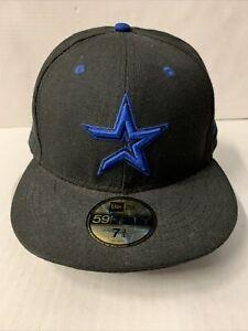 New Era 59 Fifty Houston Astros Blackout Flat Brim Wool Hat 7 3/4 New
