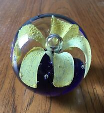 """Vintage Large Heavy Glass Paperweight Art Glass Yellow Flower Blue Base 4"""" High"""