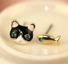 Fashion Cute Cat & Fish Stud Earring Jewelry Korea Asymmetric Stud Gift☆