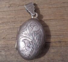 """Vintage Etched  Sterling Silver Oval  Picture Locket  Necklace Pendant 1.5""""long"""