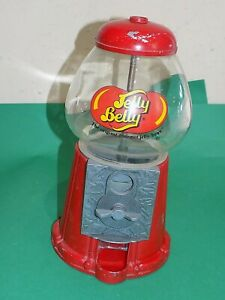 """JELLY BELLY Bean Machine 11"""" high Red with Glass Dome Vintage Style Pre-owned"""