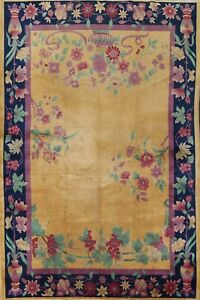 Antique Vegetable Dye Art Deco Nichols Chinese Area Rug Hand-knotted GOLD 9'x12'
