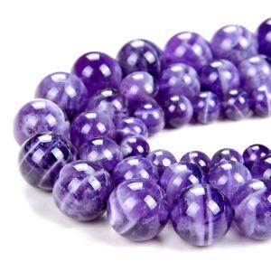 Dogtooth Chevron Amethyst Gemstone Round 6MM 8MM 10MM Loose Beads (A297)