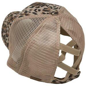 C.C Ponytail Criss Cross Messy Buns Ponycaps Baseball Trucker Cap Hat Leopard Be