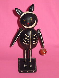 Primitive Halloween Decoration - Skeleton Black Cat by Papier People Originals