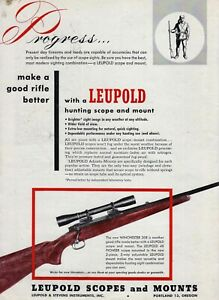 1953 magazine ad for Leupold Scopes and Mounts - Leupold 4X Pioneer Scope